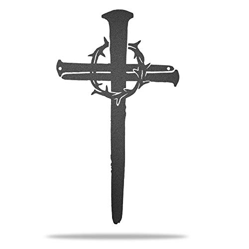 Redline Steel Crown of Thorns Wall Cross - Home Decor Art for Entry, Kitchen, Prayer Room (Black)