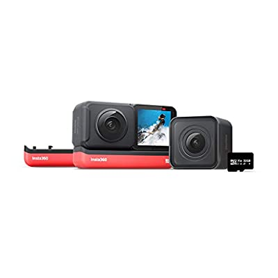 Insta360 ONE R Twin Edition Battery Kit – 4K Action Camera & 5.7K 360 Camera with Interchangeable Lenses, Stabilization, IPX8 Waterproof, Touch Screen, AI Editing