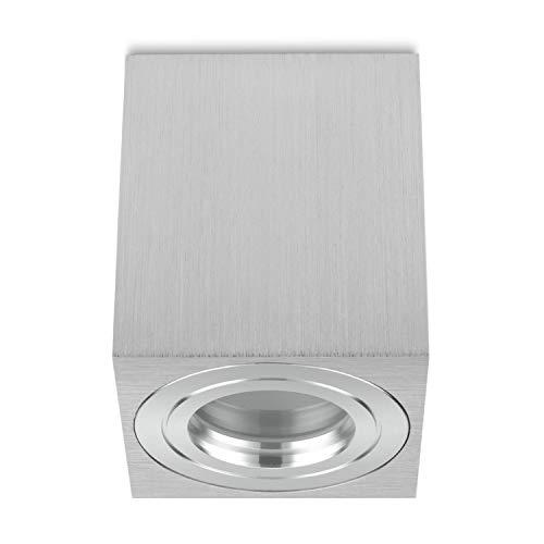 sweet-led IP44 Aufbaustrahler für Badezimmer , Rund-Eckig , Aufbau Deckenleuchte Aufbauspot Alu-gebüstet , Deckenlampe Unterbauleuchte aus Aluminium (Eckig-silber)