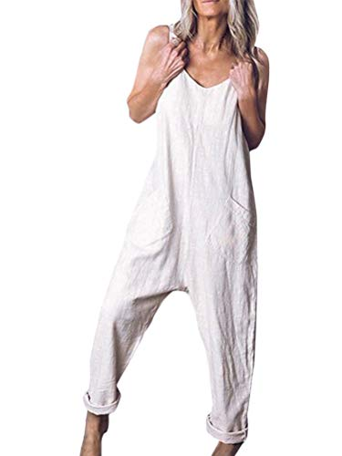 Tomwell Damen Retro Latzhose Lässig Insgesamt Baggy Taschen Lange Harem Playsuit Hose Jumpsuits Overalls A Grau DE 42