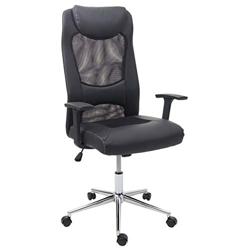 Mendler Bürostuhl HWC-E69, Schreibtischstuhl Chefsessel Drehstuhl, Kunstleder + Stoff/Textil schwarz