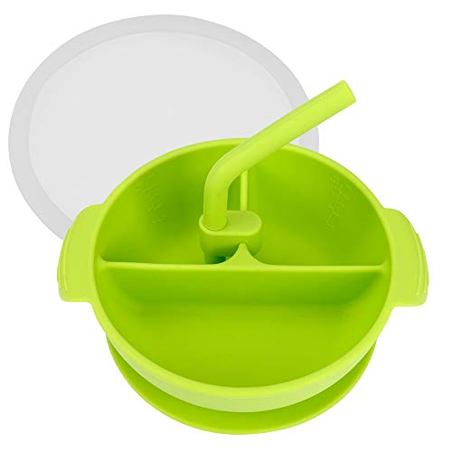 Ertisa Schale mit Saugnapf fuer Baby und Kleinkind Silikonschale BPA-freie Saugerschuppe Geteilte Fütterungs-Entwöhnungsschale mit Saugbodendeckelstroh