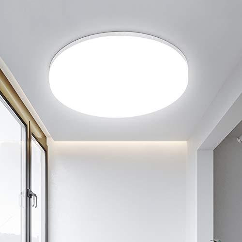 LED Deckenleuchte 18W 1800LM, Deckenlampe Led Badleuchte 4000K, LEOEU IP54 Wasserfest led Lampe Idear für Bad Küche Balkon Keller Wohnzimmer Kinderzimimer Flur, Badezimmerlampe Ø22cm