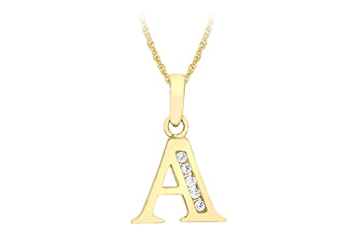 Carissima Gold Women's 9 ct Yellow Gold Cubic Zirconia 10 x 12 mm Initial A Pendant on 9 ct Yellow Gold 0.4 mm Prince of Wales Chain Necklace of Length 46 cm/18 Inch