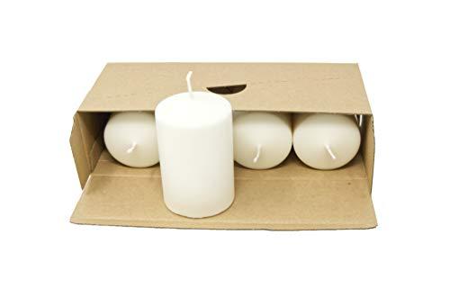 Coraz Home Juego de velas naturales de cera natural sin perfume, sin parafina, velas blancas naturales, sin plástico, libre de plástico en caja Kraft (juego de 4 velas de pilar, 60 mm x 90 mm)