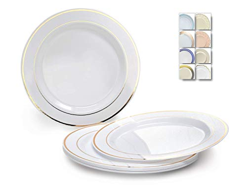 OCCASIONS 120 Plates Pack, Heavyweight Disposable Wedding Party Plastic Plates (6.25 Dessert/Bread Plate, White & Gold Rim)