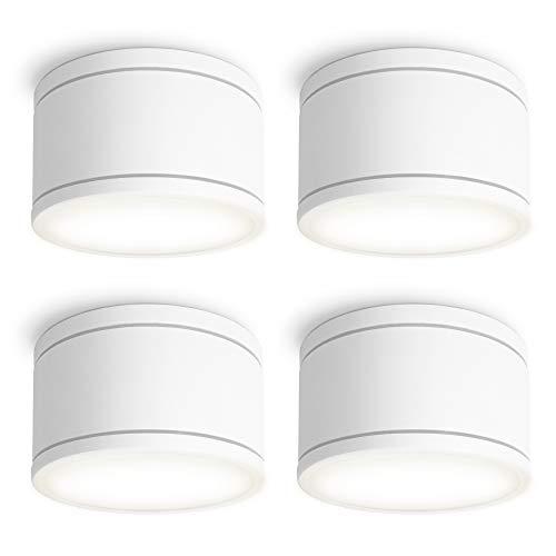 SSC-LUXon CELI-WX 4er Set flache LED Deckenspots Aufputz IP44 für Bad & Außen mit LED GX53 neutralweiß 3W - Strahler weiß 230V