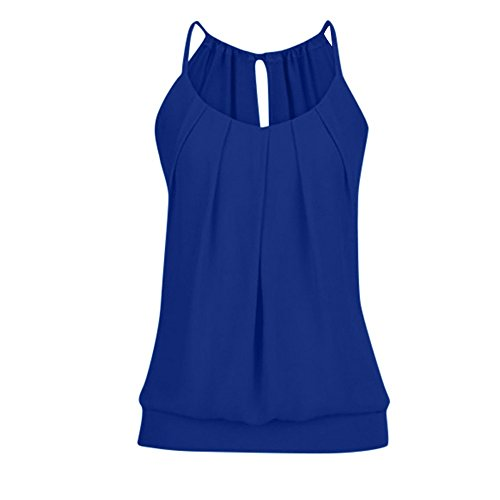 Ropa Camiseta sin Mangas Tank Tops para Mujeres, Verano Sexy Deporte Casual Lace Chaleco Blusa Tops Blusas Crop Tops Vest T Shirt Fiesta en la Playa para Mujeres Chica Joven (Azul Oscuro, S)