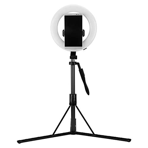 Eosnow Soporte para teléfono móvil, con luz de Relleno LED para trípode Mini para reuniones en línea para Disparos al Aire Libre para transmisión en Vivo para Otras escenas