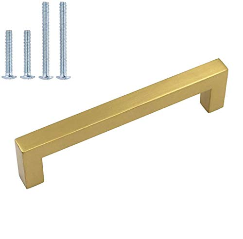 homdiy 6 Pack Square Cabinet Handles Brushed Brass Drawer Pulls - HDJ12GD Kitchen Cabinet Hardware Gold Handles for Cabinets Stainless Steel Drawer Handles, 12-3/5in Hole Centers