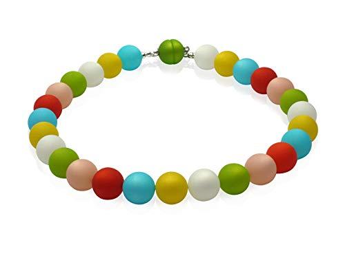 Collana di perle primavera 2020 pastello con cristalli Swarovski e doppio cono lungo 45 cm e Acciaio inossidabile, colore: Multicolore, cod. 29650198