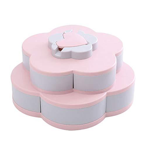 Trafagala Blumen-Form drehbarer Deckel Candy Box Kreative Rotary Switch Storage Teller Home Snacks Trennwand Organizer Box Party Hochzeit Candy Tray (Rosa,30x30x15cm)