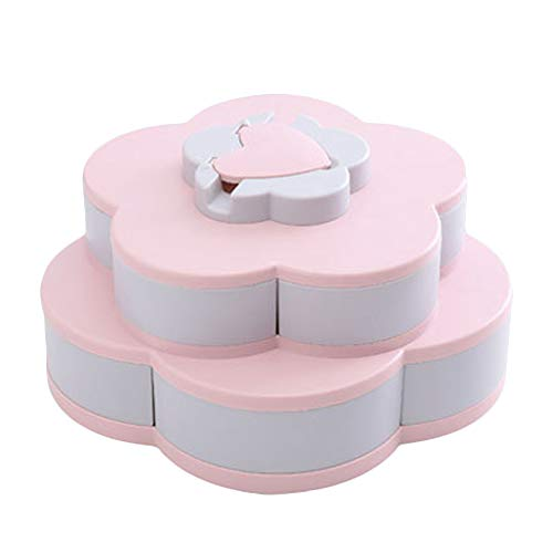Trafagala Blumen-Form drehbarer Deckel Candy Box Kreative Rotary Switch Storage Teller Home Snacks Trennwand Organizer Box Party Hochzeit Candy Tray (Rosa,30x30x15cm)