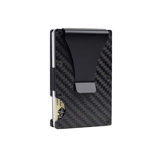 Carbon Fiber Wallets for Men Minimalist Aluminum RFID Blocking Mens Wallet Slim Cash Credit Card Holder with Money Clip