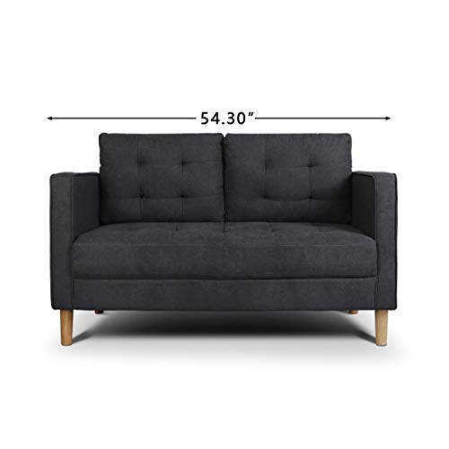 AODAILIHB Modern Soft Cloth Tufted Cushion Loveseat Sofa Small Space Configurable Couch 54.3' (Dark Grey)