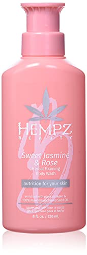 Hempz Sweet Jasmine and Rose Herbal Foaming Body Wash for Women, Vegan Hydrating Body Wash for Dry Skin with 100 percent…