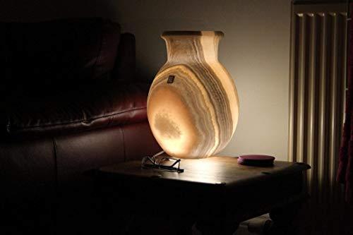 Maison Zoe Original de la lámpara de cabecera de alabastro piedra - Lámpara de mesa única forma de bola - Luz Suave - Abaj esfera en forma de días-- hecho a mano