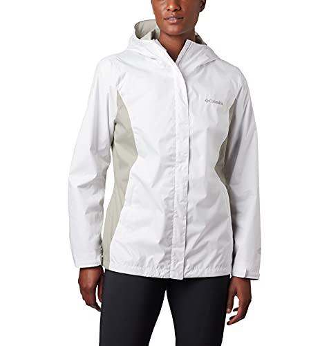 Columbia Arcadia II Rain Jacket Blouson de Pluie, Blanc/Gris, L Femme