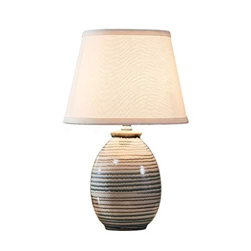 Lampe de Table de Chevet LED en céramique, Lampe de Table rétro de Bureau de Chambre à Coucher Salon Bureau, Abat-Jour en Tissu E27 Gris (Color : White, Taille : Push Button)