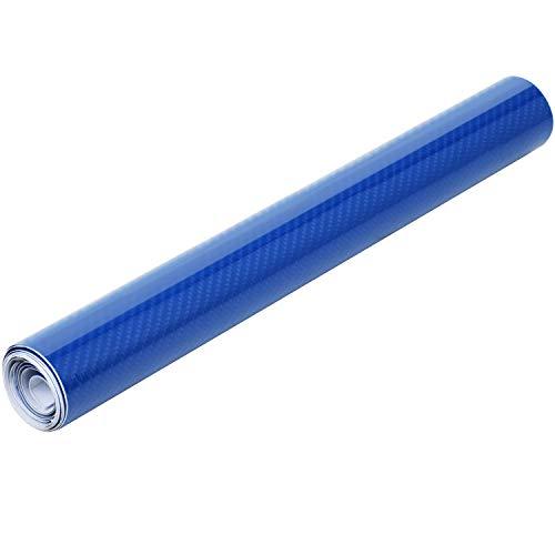TRIXES Vinylfolie - Selbstklebende 6D Carbon Vinylfolie - für PKW Van Motorrad & technische Geräte - für den Innen- und Außenbereich - Blasenfrei - 1500 x 300mm - Farbe Blau glänzend