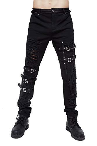 Blackmasksu Gothic Schwarz Jeans für Herren Steampunk Mode Slim Fit Hose Holey mit Kunstleder Knopf Hose