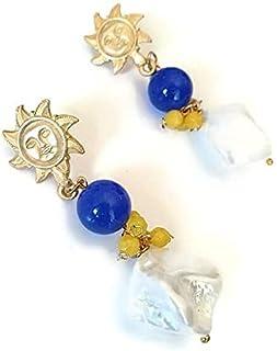 orecchini sole, orecchini pietre dure, orecchini argento placcato oro, orecchini pietre, orecchini giada