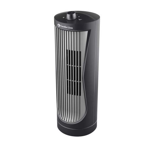 Comfort Zone CZ112 Quiet 2-Speed 12-inch Oscillating Desktop Tower Fan with High-Performance Centrifugal Blades
