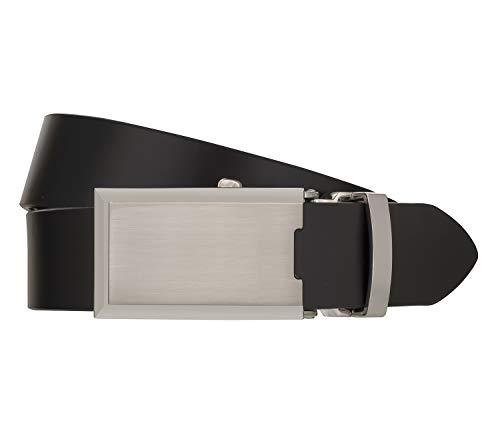 Monti Automatikschließe SHANGHAI Gürtel Herrengürtel Ledergürtel Schwarz 8044, Länge:110, Farbe:Schwarz