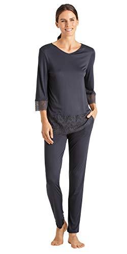 Hanro Damen Imani 3/4 Sleeve Pajama Pyjama Set, Blau-Smoky Blue, Small