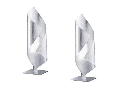 Lot de 2 lampes de table à LED exclusives en argent - 3 W - Hauteur : 33 cm - Design élégant.