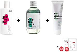 KRAVE Beauty Beet The Sun SPF47 PA++++50ml + Matcha Hemp Hydrating Cleanser 4.05oz+Kale-lalu-yAHA 6.76oz Face Exfoliator 3 Pieces + 2 AL mask sheet Set K-Beauty Eco friendly