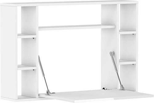 BIM Furniture Muse - Estantería de escritorio plegable para colgar, color blanco mate y blanco brillante