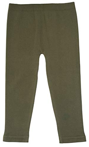 Silky Toes Baby Leggings, Toddler Seamless Soft Cotton Knit Pants for Girls and Boys (2-4 Years, Olive Green)