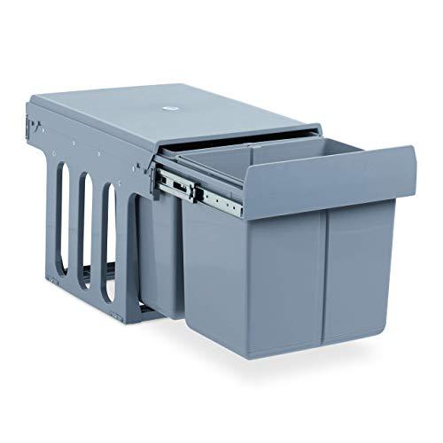 Relaxdays Einbaumülleimer Küche, Auszug, Duo je 15 Liter, Müllsystem Unterschrank, Kunststoff, HBT 35 x 34 x 48 cm, grau