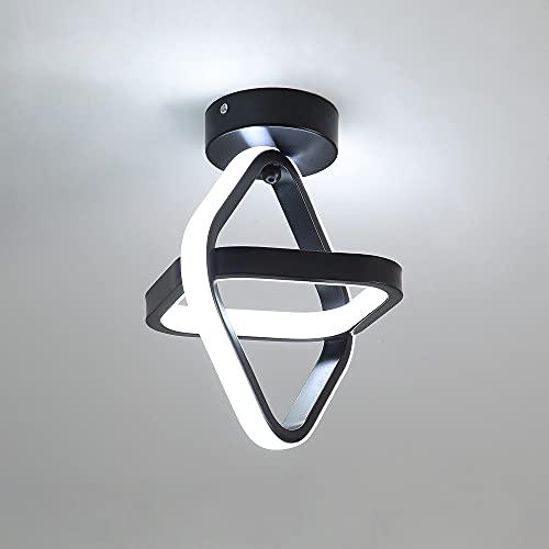 Goeco LED Lámpara de Techo Moderna, Lampara Pasillo Techogeometría cuadrada 22W, Plafón LED Techo para Armario Pasillo Balcón, Luz blanca 4000K, negro