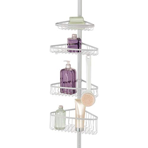 mDesign Bathroom Shower Storage Constant Tension Corner Pole Caddy - Adjustable Height - 4 Positionable Baskets - for Organizing and Containing Hand Soap, Body Wash, Wash Cloths, Razors - Light Gray