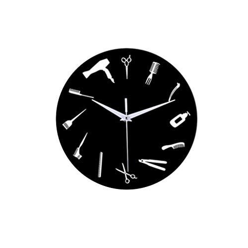 Fulltime(TM) 12-Inch Reloj Creativo, Decoracion de casa/Cocina/Oficina, Relojes de Pared de Herramientas de peluquería para el Dormitorio Sala de Estar Decorativa con un Reloj Mudo Buena (Negro)
