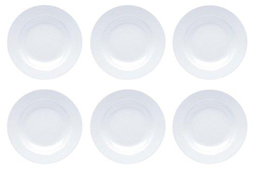Teller Porzellan Weiß Speiseteller Suppenteller Dessertteller Pastateller Schüssel 6 Stück Set Modell-Auswahl, Modell:22 cm Ø Teller tief
