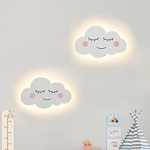 LED Nube Lámpara de Pared Creativo Linda Niños Aplique de Pared Chico Niña Cuarto Lámpara de Cabecera Moderno Niño Habitación Cuarto del Bebé Luz de Pared Cama Sala de Estar Luz de Noche,B