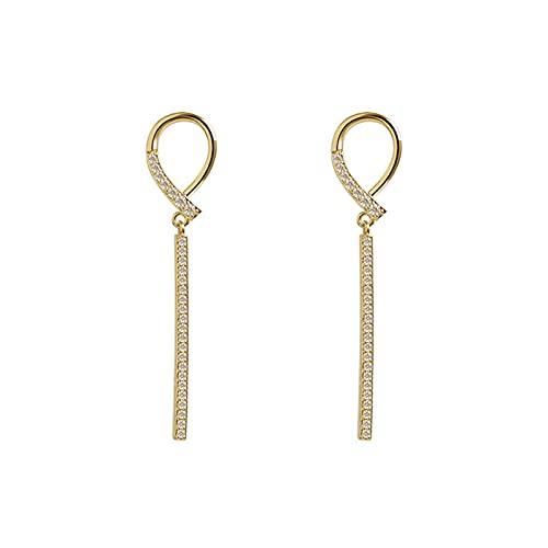 2020 aguja de plata moda europea y americana diamantes de imitación de lujo ligeros pendientes geométricos largos pendientes de temperamento pendientes pendientes de personalidad simple