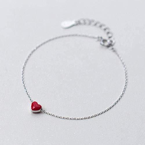 S925 zilveren armband voor dames, han, rood, liefdesarmband, lief, hart-armband, rode druppelolie, handsieraden, 925 zilver, 925 zilver, EEH A ZILVER