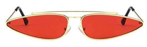 Gafas De Sol De Ojo De Gato para Mujer, Gafas De Sol con Montura De Metal Doble Pequeño Y Vintage para Hombre, Gafas De Sol Triangulares con Sombra Uv400, Rojo Dorado