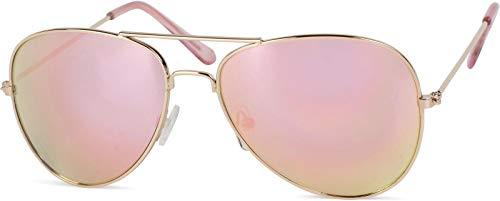 styleBREAKER Gafas de aviador para niños con marco de metal de acero inoxidable, con espejo o teñidas, Gafas de aviador, Gafas de sol 09020059, color:Dorado montura/Fucsia vidrio de espejo