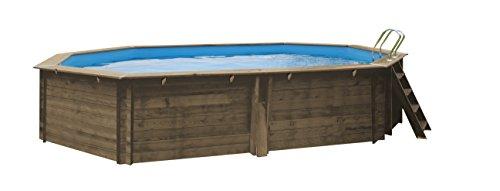 Gre 790087 Piscina con bordi Piscina esagonale 14500L Blu, Legno piscina fuori terra