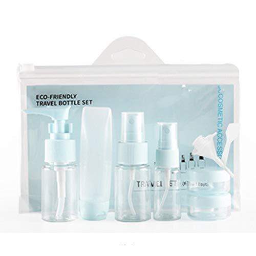 Heritan Azul 9 PCS/Set Portátil Viaje Cosmético Vacío Tarro Paquetes De Viaje Maquillaje Crema De Cara Contenedor Botellas