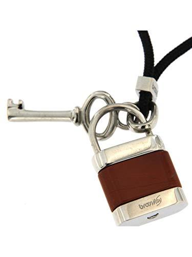 Brosway Collana con Cordino Nero Regolabile Pendente con Lucchetto di 2 Cm e Chiave di 2 Cm in Metallo con logo