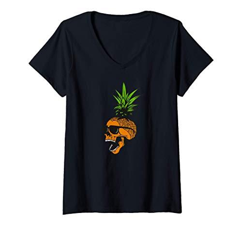Mujer Calavera de piña con gafas, diseño tropical Camiseta Cuello V