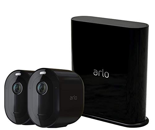Arlo Pro3 Überwachungskamera & Alarmanlage, 2K UHD, 2er Set, Smart Home, kabellos, Innen/Außen, Farbnachtsicht, 160 Grad Blickwinkel, WLAN, 2-Wege Audio, Spotlight, Bewegungsmelder, VMS4240B, Schwarz