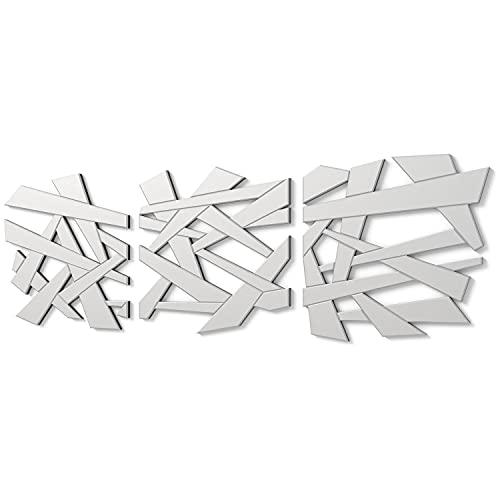 DekoArte E015 - Espejos Decorativos Modernos De Pared | Espejos Decoración para Tu Salón Dormitorio, Entrada, Recibidor | Espejos Sofisticados Grandes Tríptico Color Plata | 3 Piezas 60 x 60 cm