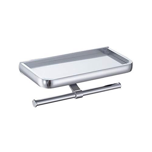 FOTGL Soporte de Papel higiénico para Cocina Baño No-Perforación Autoadhesivo Aleación de Aluminio Titular de Papel higiénico Estante de Almacenamiento para teléfono
